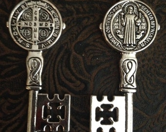 4 Pieces Saint Benedict San Benito Reversible Key Pendant charm 52x20mm  Antique Silver Finish Ornate detailing double sided, 17-14-AS