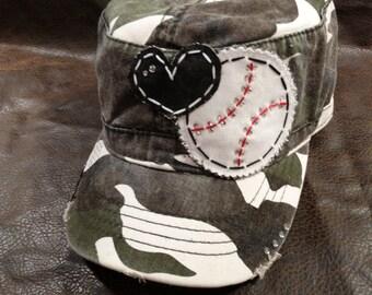 Baseball LOVE Mom Bling CAMO Cadet Style Cap