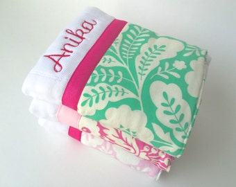 Personalized burp cloths, baby burp cloth, pink and green baby,  Personalized baby gift,