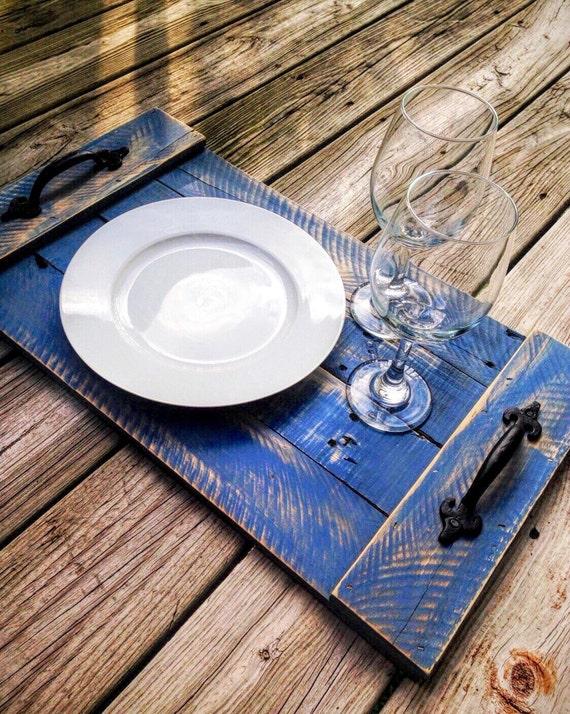 Wood Pallet Serving Tray Denim Blue