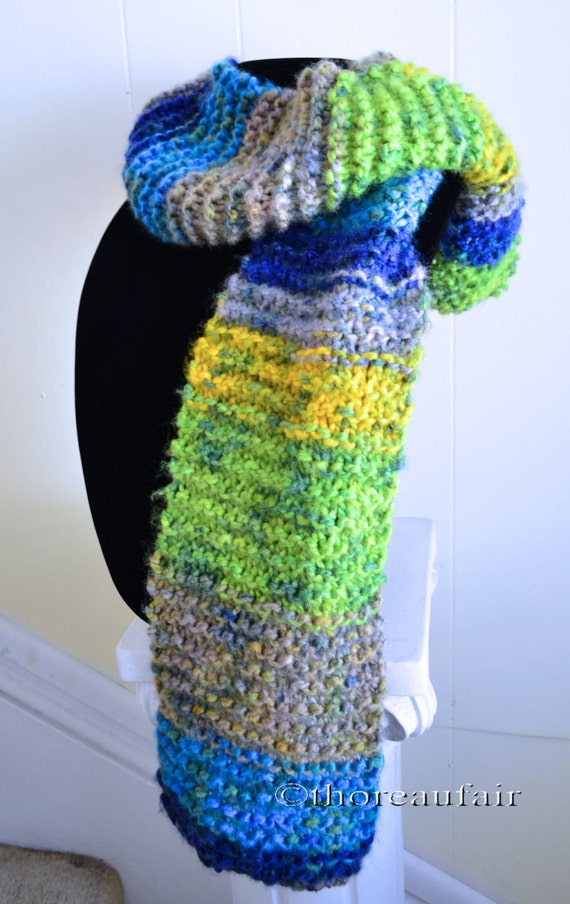Knitted Scarf - Handmade - Tropical Colors