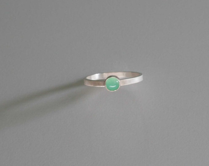 Chrysoprase Sterling Silver Small Band Ring size 7 1/2- Wild Grace Jewelry - hand made