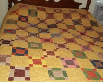 Hand Quilted  Hand Pieced, Vintage 64 x 72 All Cotto