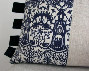 Square Cushion, Pillow, Feather inner included, Linen & Cotton, Woodland Folklore Print, Indigo, Velvet Ribbon Trim.