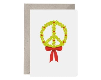 Christmas Card – Peace Wreath. Christmas Wreath. Peace at Christmas Card. Christmas Peace Card. Wreath Card. Recycled Christmas Card.