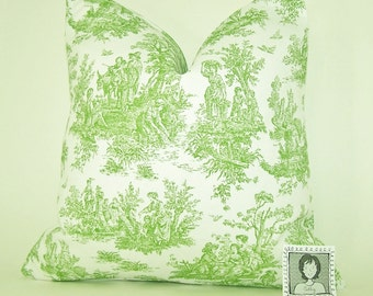 Green Outdoor Pillow Cover - Hunter Gree and white - Various Sizes - Toile - Beach - Nautical - 20x20,18x18,22x22