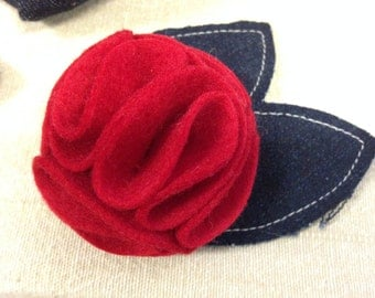 Felt Corsage Red Brooch