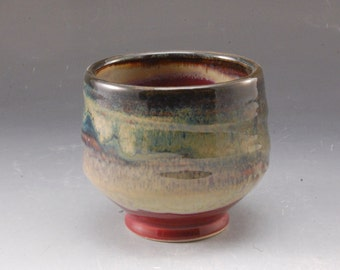 Handmade Pottery Cup  Red and Brown  Stoneware by Mark Hudak
