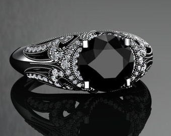 Natural Black Diamond Engagement Ring Black Diamond Ring 14k or 18k Black Gold VS1BKDBK