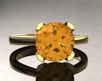 Yellow Sapphire Engagement Ring Yellow Sapphire Ring 14k or 18k Yellow Gold Matching Wedding Band Available SW1YSY