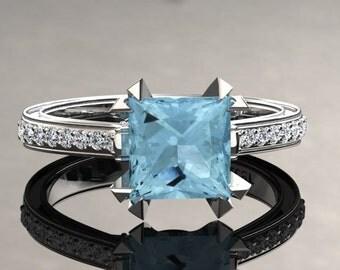 Aquamarine Engagement Ring Princess Cut Aquamarine Ring 14k or 18k White Gold Matching Wedding Band Available SW12AQUAW