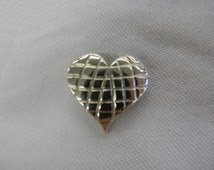 "Sterling Silver 925 Adorable Waffle Pattern Heart Pendant 1"" Long ET 6081"