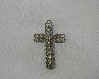 """Sterling Silver 925 Lovely Vine Design Cross Pendant 1 1/4"""" Long ET. 6045"""
