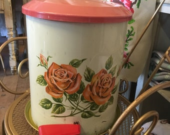 Vintage shabby chic roses pedal bin