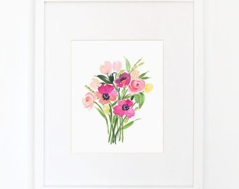 Poppies Bouquet - Watercolor Art Print