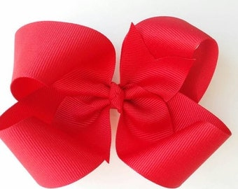 Red hair bow, red bow, twisted boutique bow, red loopy bow, solid red grosgrain ribbon bow, grip alligator clip, girls hair bow, basic bow