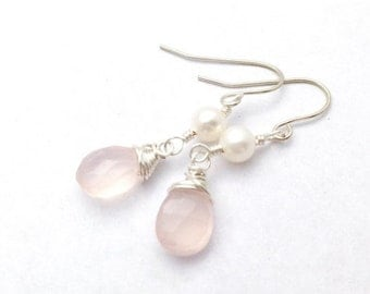SALE 40% Off Blush Pink and Pearl Silver Earrings