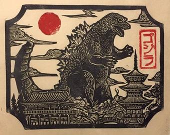 Godzilla in Japan Linocut