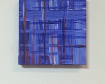 """Blue plaid cross fade, small original acrylic painting, red white and blue,  """"crooked cowboy"""""""