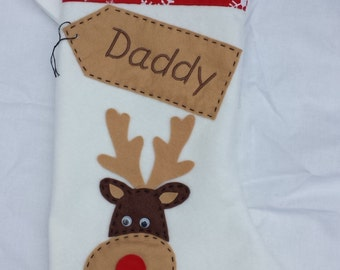 Personalised Christmas Stocking - Handmade - White  Reindeer