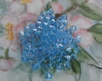 Vintage 4mm Bicone Swarovski Aquamarine Crystal ~ 4mm Size ~ 30 Pieces ~ Aquamarine Bicone Crystal 4mm Size ~ Swarovski 4mm Bicone Crystal