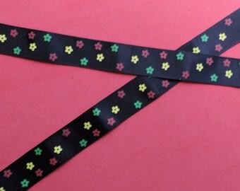 Black flower print ribbon - 5 yards