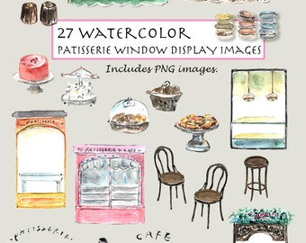CLIP ART- Watercolor Patisserie Window Display Set. 27 Images. Digital Download. Bakery Shop. Cafe. Cake. Awning. Macaroons.