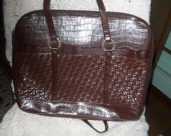 croc laptop Vintage coldwater creek shoulder purse and lap top carrier pocketbook