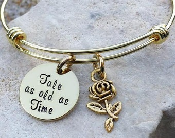 Sale - Beauty and the Beast - Disney Bracelet - Disney Bangle - Disney Jewelry - Disney Necklace - Bridesmaid Gift - Tale as old as Time