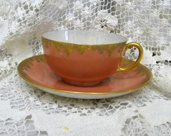 Pink and Gold Teacup and Saucer Antique M&Z Austria