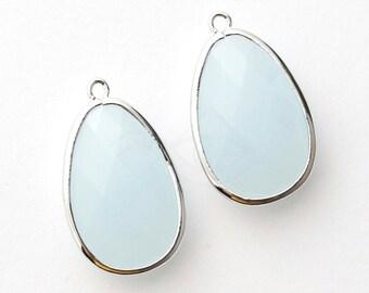 1064182 / Air Blue Opal / Rhodium Plated Brass Framed Glass Pendant  18.5mm x 31.3mm / 5.3g / 2pcs