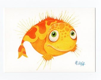 "Postcard ""Fisch"" yellow"