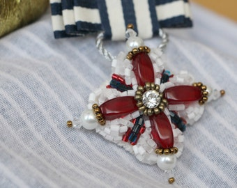 Embroidered Medal-brooch in nautical style
