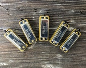 Mini Harmonica Realy Works! Silver vintage style working musical charm pendant  supplies steam punk dudes M9