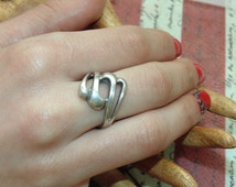 SR1053 Vintage Estate Sterling Silver Large Cut Out Interesting Shape Ring US Size 9 UK R 5 grams 925 Jewelry Jewellery