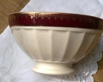 Large Antique French Café au Lait Bowl Empire White Bowl Red Burgundy Gold Trim Digoin Sarreguemines 1930 Ceramic #SophieLadyDeParis