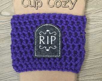 Purple RIP Halloween Coffee Cozy