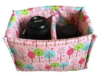 NEW! SMALL Pink tree pattern padded camera insert