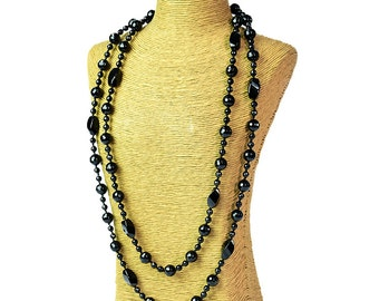 Long Black Onyx Necklace,61 inches strand