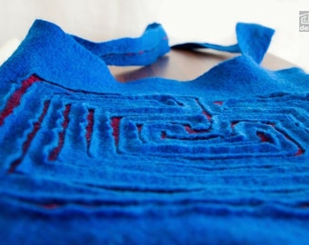Felted Messenger Bag, Electric Blue Bag, Labyrinth Pattern, Blue and Red, Wearable art, Royal blue with red