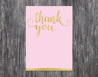 INSTANT DOWNLOAD: Pink and Gold Thank You Card