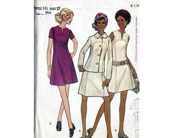 70s Butterick Dress and jacket sewing pattern - 5865, bust 37 inches, vintage sewing patterns