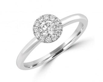 Solitaire Diamond Engagement Rings,14K White Gold Wedding Bands,Round Cut Diamond Engagement Rings,Matching Wedding Rings,Womens Rings