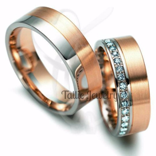 Matching Wedding Rings10K Gold Two Tone Diamond BandHis And Hers Rings Mens Womens Rose BandsMatching Bands