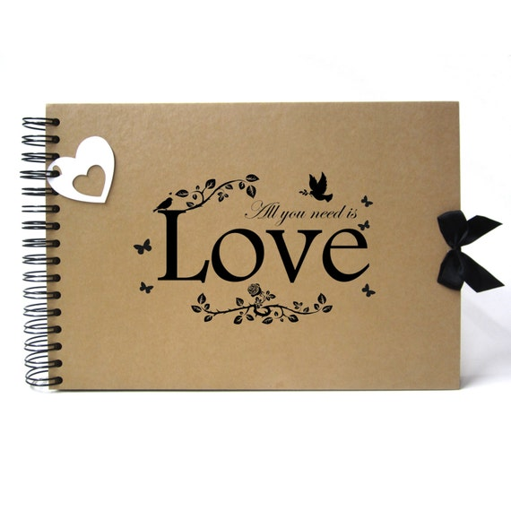 Scrapbook, A5 A4 All You Need is Love, Card Pages, Photo Album, Keepsake, Kraft, Guestbook