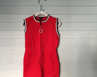 Vintage 1950's Knitcraft Red Nylon Jumpsuit Romper Girl Boy