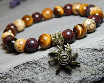 Sun Bracelet, Tribal Bracelet, Boho Bracelet, Sun Charm Bracelet, Stretch Stone Bracelet, Beaded Gemstone Bracelet, Stone Jewelry