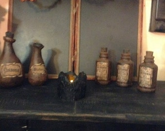"Drippy Beeswax 3"" Pillar Candle with Blackened Beeswax Tealight"