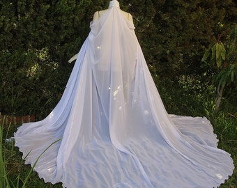 Extra Long White Elven Cape