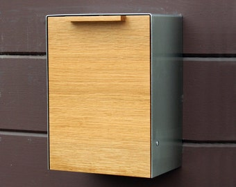 White Oak Modern Mailbox, Narrow Size, Wall Mounted mailbox